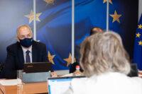 Ο Υπουργός Γεωργίας, Αγροτικής Ανάπτυξης και Περιβάλλοντος κ. Κώστας Καδής συναντήθηκε, στο περιθώριο των εργασιών του Συμβουλίου Γεωργίας και Αλιείας της ΕΕ, με την Επίτροπο Συνοχής και Μεταρρυθμίσεων κα Elisa Ferreira, Βρυξέλλες, 19 Ιουλίου 2021. //  In the margins of the EU Agriculture and Fisheries Council, the Minister of Agriculture, Rural Development and Environment, Mr Costas Kadis meets the Commissioner for Cohesion and Reforms, Ms Elisa Ferreira, Brussels 19 July 2021.
